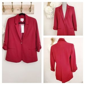 NWT J&R 3/4 Sleeve Buttoned Business Blazer Red